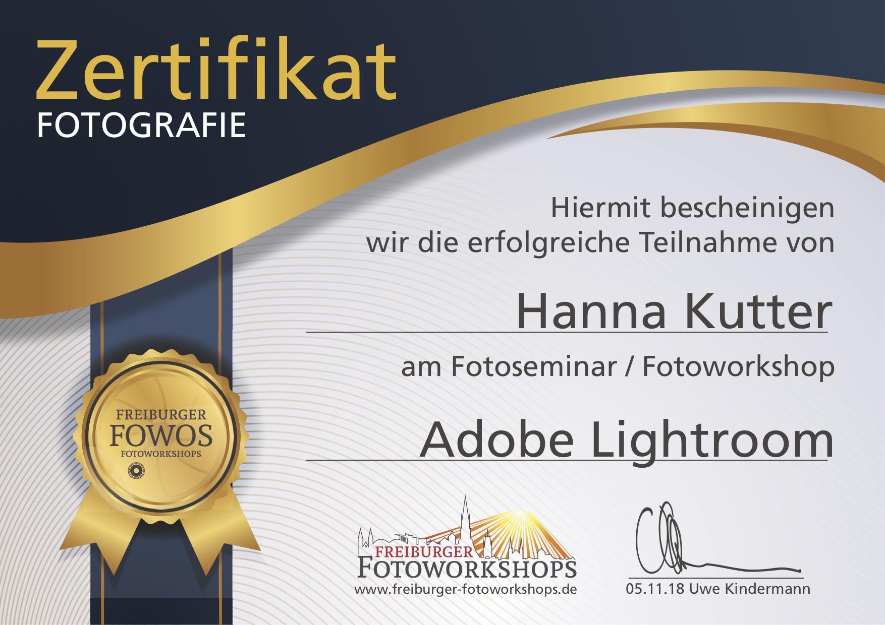 Zertifikat Lightroom