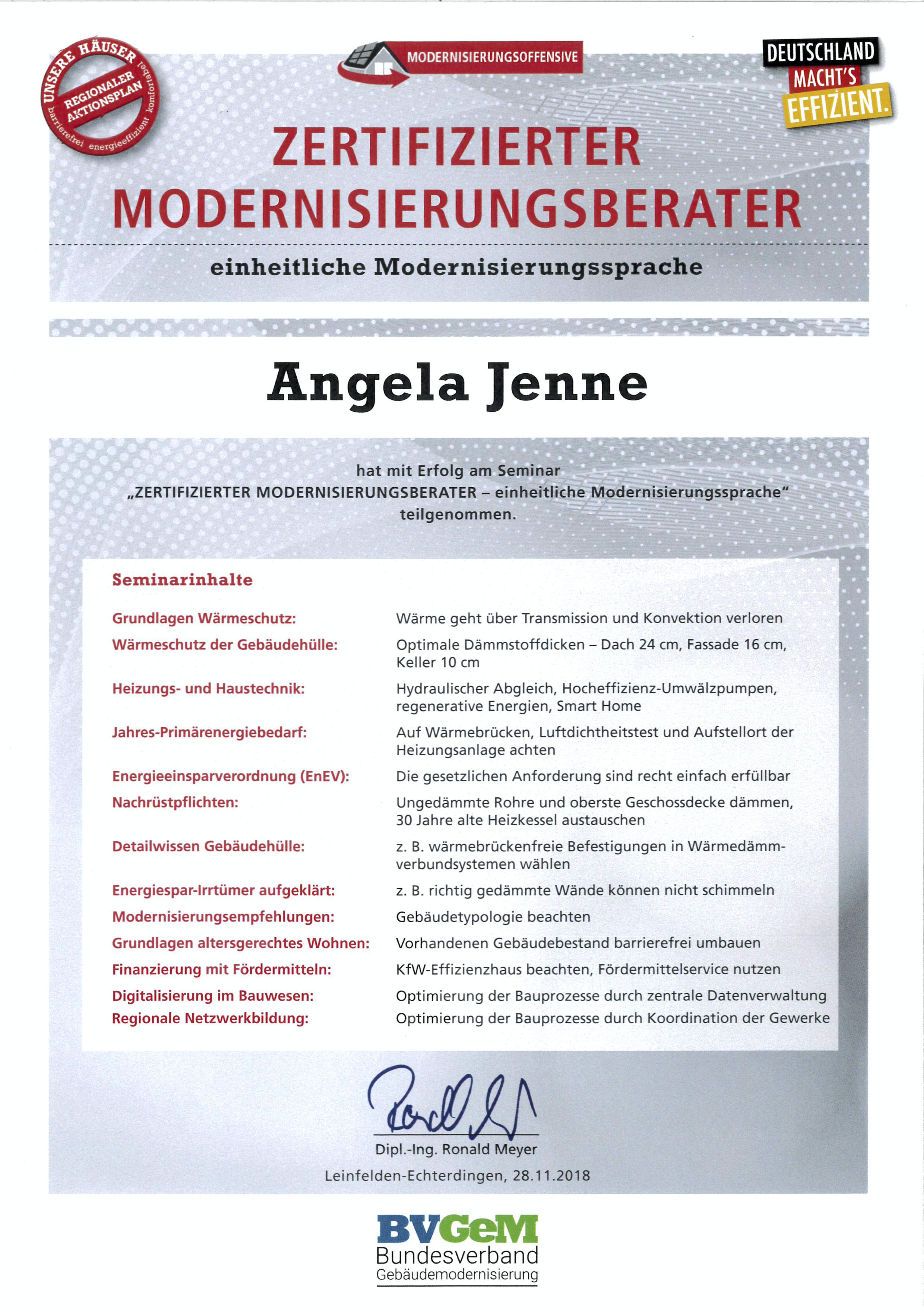 Modernisierungsberater Angela
