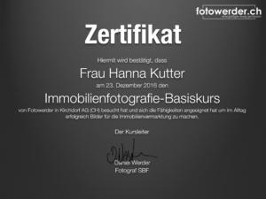 Zertifikat Fotokurs Hanna
